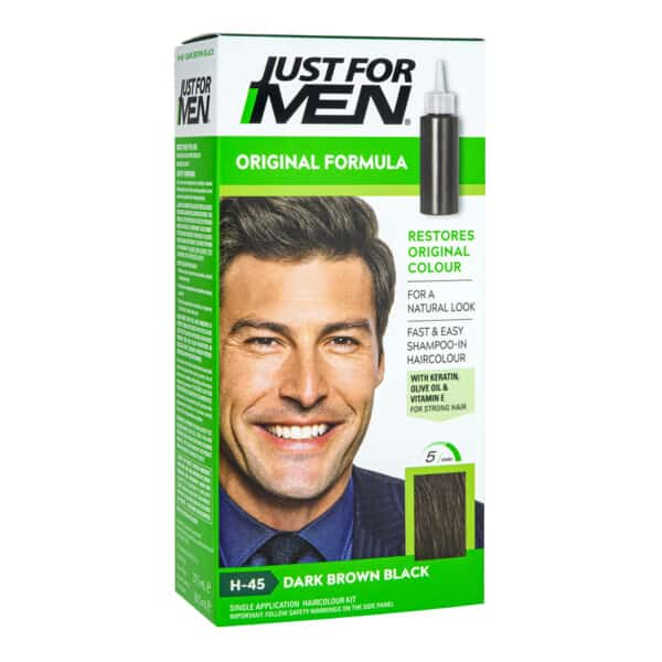 Just For Men Shampoo-In Colour replaces grey hair with subtle tones that match your natural colour.